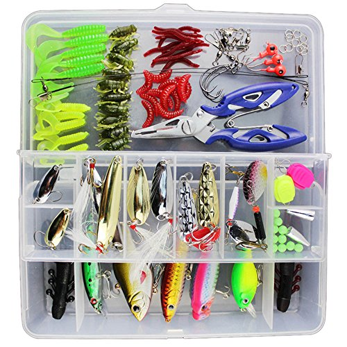 Keweis 101pcs Set Fishing Lures Tackle Including Freshwater,Saltwater, Bass,Trout,Salmon,Including Spoon Lures,Soft Plastic Worms, CrankBait,Jigs,Topwater Lures,Fishing Bait Set Plastic Box