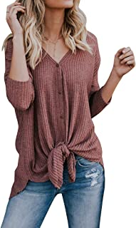 Ivay Women's Lightweight Cardigan Sweater Fall V Neck Knitted Top Red