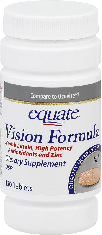 Equate Regular dealer Vision Formula with Lutein Tablets 4 Pack Many popular brands Count of 120