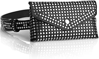 Studded Fanny Packs for Women Teen Girls Black Leather, Fashion Waist Pack Belt Bag with Adjustable Strap, Casual Trend Fa...