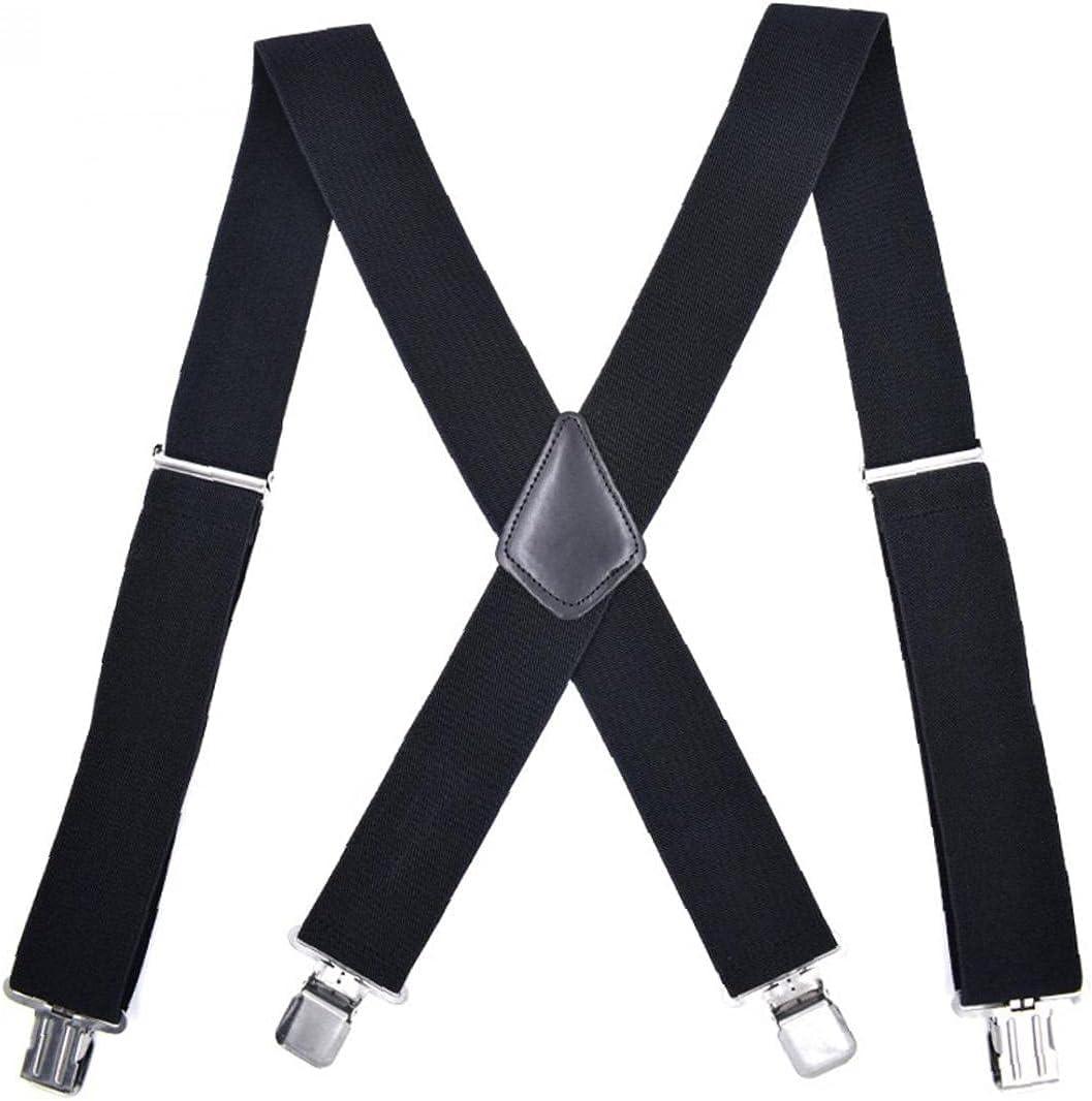Onsinic 1 Pc Men Braces Widening 4 Clips Elastic M-Shaped Suspender Adult Trousers Shirt Decorations