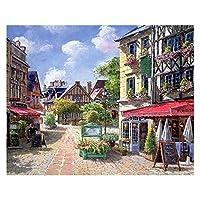 数字油絵 大人の子供のための数字でペイントされている子供DIY手塗り油絵の街の風景写真ペイント家の装飾 (Color : 99648, Size(cm) : 40x50cm no frame)