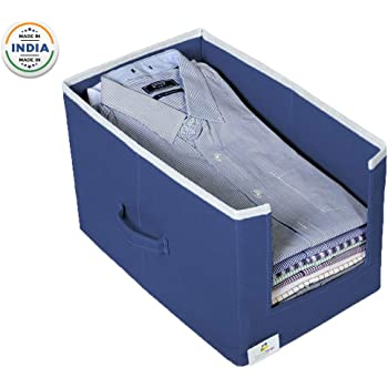 HomeStrap Non Woven Shirt Stacker/Shirt Organizer Wardrobe Organizer- Navy Blue- Pack of 1