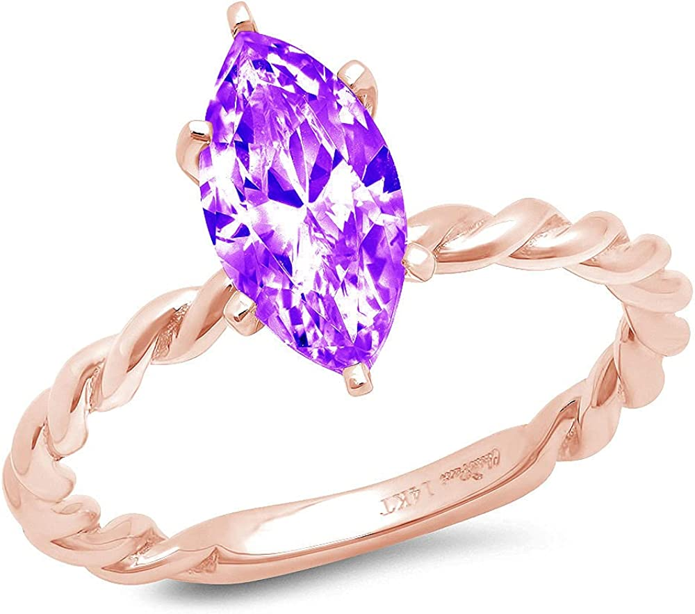 2ct Marquise Cut Solitaire Rope Twisted Knot Natural Purple Amethyst Gem Stone Ideal VVS1 6-Prong Engagement Wedding Bridal Promise Anniversary Ring Solid 14k Pink Rose Gold for Women