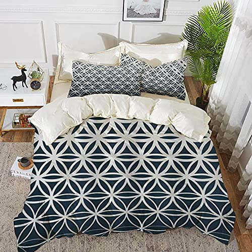 Lyyeaz Juego de funda de edredón y funda de edredón de microfibra, diseño geométrico retro de degradado, clásico de medio tono, con 2 fundas de almohada de 50 x 80 cm