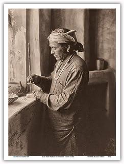 Zuni Bead Worker Vintage Photograph by Edward S. Curtis c.1903 - Art Print 9 x 12 in Multi PRTA8932
