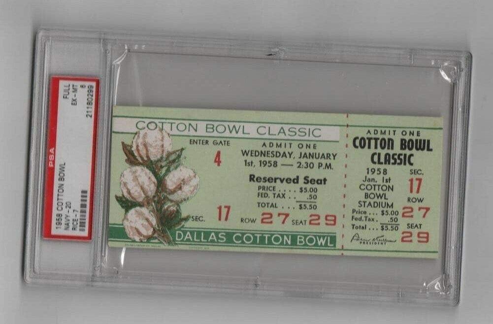 1958 Cotton Bowl Full Ticket Navy PSA v Owls Rice Max 70% OFFer OFF 21180299