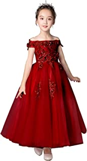 Girl Dress Off The Shoulder Lace Applique Princess Pageant Prom Ball Gown