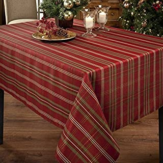 Benson Mills Christmasville Metallic Fabric Tablecloth, 60-Inch-by-140 Inch