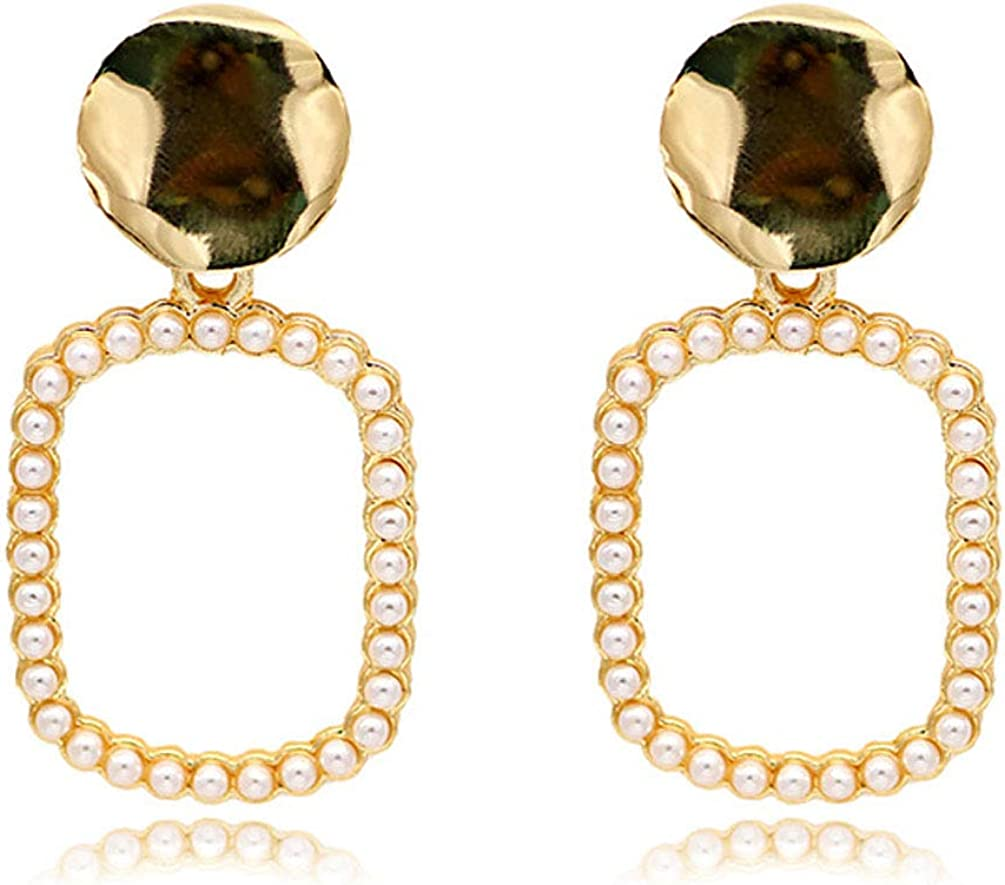 Clip on Earrings Simple Square Dangle Earring Faux Pearl Beads Women Girl Gold Fashion Prom non Piecred