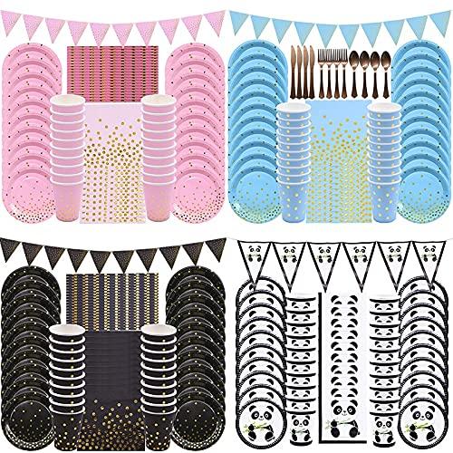 PPuujia Geburtstagsparty-Zubehör für Kindergeburtstage, Dekoration, Pappteller, Becher, Servietten, Einweggeschirr-Set für Hochzeit, Babyparty, Festival, Partyzubehör (Farbe: 40 Jahre 16 Gäste)