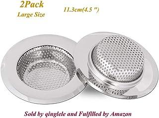 Qinglele 2 Unidades 11,3cm Filtro De Desagüe Del Fregadero De La Cocina, Filtro De Acero Inoxidable Para Fregadero Lavabo Bañera