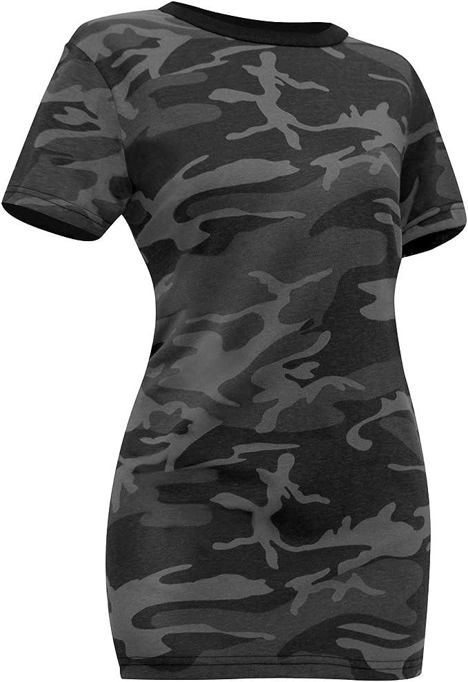 Women Camouflage Long Sleeve T Shirt Ladies V neck Stretch Tee Top xk BlAhN