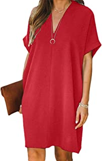 CBTLVSN Women's Shift Plain V-Neck Baggy Short-Sleeve Mini-Dress Short-Dres