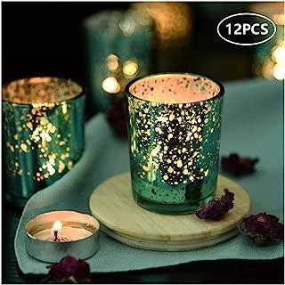 SUPREME LIGHTS Mercury Votive Candle Holders, Speckled Glass Tealight Holder, 2.45-inch Tall(Set of 12, Aqua)