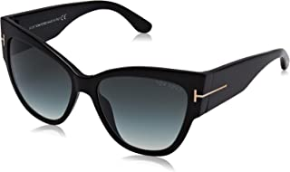 Tom Ford TF371 01B Black Anoushka Pilot Sunglasses Lens Category 2 Size 57mm