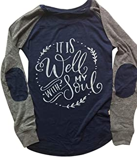 It is Well My Soul Christian T-Shirt Women Raglan Long Sleeve Patches Tee Blouse Size L (Nary Blue)