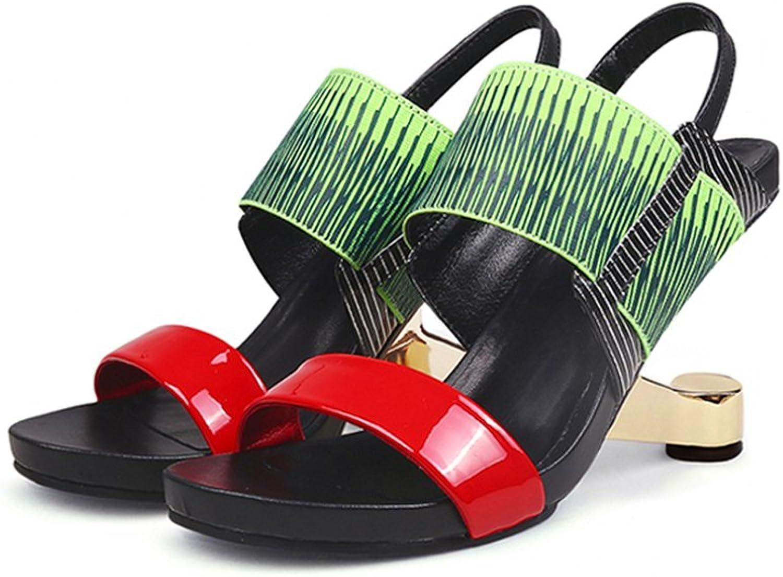 Womens Sandals Gladiator Metal High Heel Mixed color Open Toe Summer Sandals