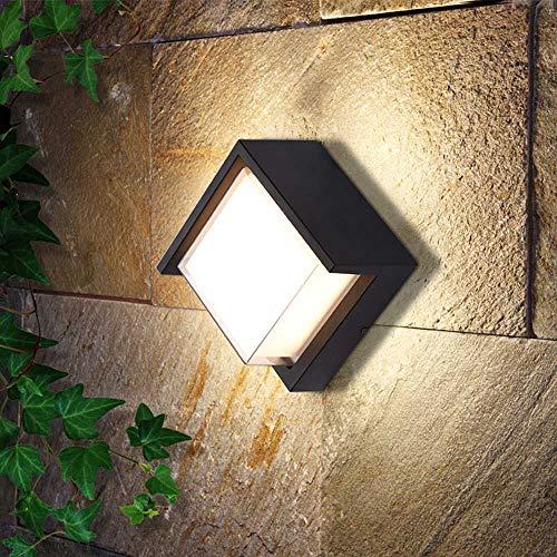 Aplique de Pared LED Para Interiores y Exteriores de 5W, Lámpara de Pared Negra de Metal, IP55 a Prueba de Agua, 500 Lúmenes, Iluminación de Jardín Para el Hogar, (Blanco Cálido 3000K)