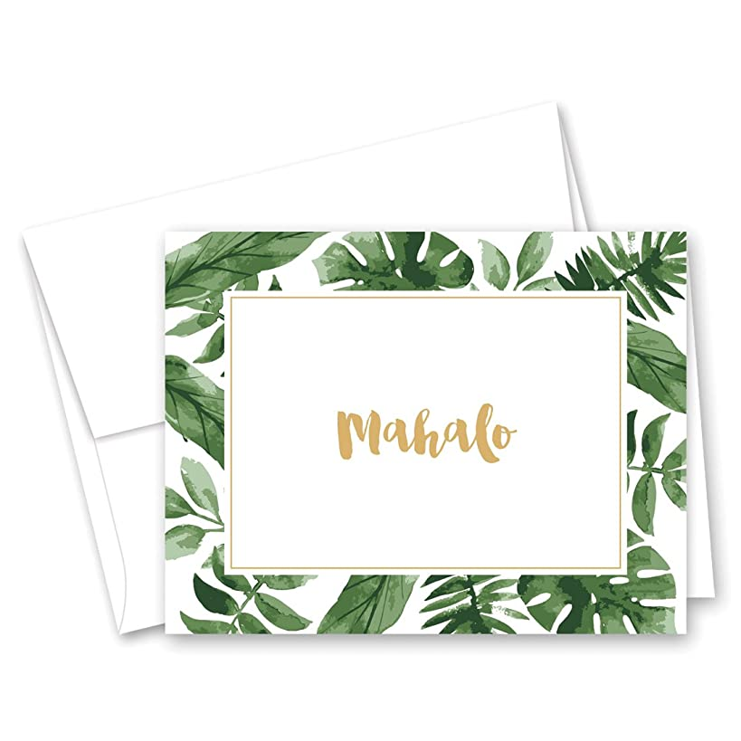 50 cnt Watercolor Palm Leaves Hawaiian Mahalo Thank You Cards