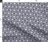Spoonflower Stoff – rotierendes Blattmuster Denim Grau