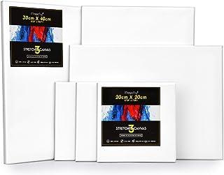 Magicfly Châssis Entoilé, 6 PCS Toile Peinture 30x40cm, 20x20cm Toile à Peindre Pré-Étiré 100% Coton Blanc pour Peinture A...
