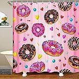Loussiesd Cortina de ducha de tela con rosquillas para niños y niños, con ganchos, diseño de rosquilla, color rosa, 177 x 181 cm