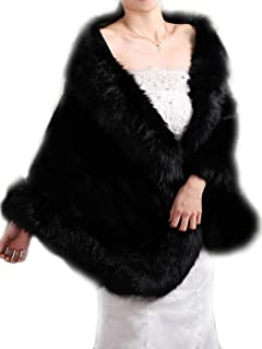 Aukmla Brown Sleeveless Faux Fur Bride Bridesmaids Shawl Wedding Fur Wraps and Shawls Bridal Fur Stole