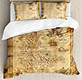 wanxinfu Island Map 3 Piece Bedding Set Duvet Cover Set Full Size, Super Detailed Treasure Map Grungy Rustic Pirates Gold Secret Sea History Theme, 3 Pcs Comforter Cover Set with 2 Pillow Cases