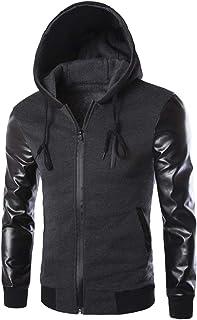 Jacket Men Hoodie Leather Jacket Faux Windproof Warm Retro Thickened Long Sleeve Zip Cardigan Parka Windbreaker Outdoor Bo...