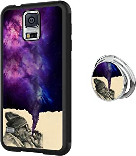 Designed Smoking Old Man Samsung Galaxy S5 Case with Buckle Ring 360° Rotatable Silvery Durable Ring Buckle, TPU Black Antiskid Tread Phone Case for Samsung Galaxy S5