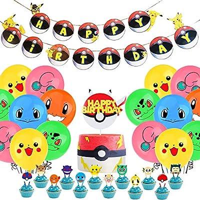 Suministros de fiesta de cumpleaños de Pokemon para niños y niños La decoración de cumpleaños de Pikachu incluye un globo de banner de decoración para tarta de cumpleaños de caicainiu