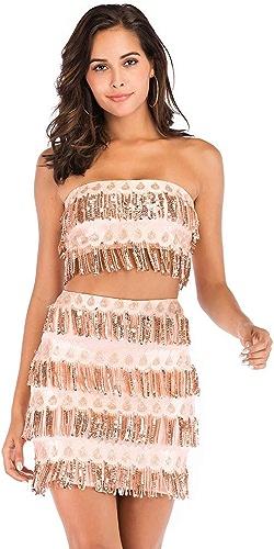Rohommece A Line Strapless Sexy Vêtements Femme Haut Et Mini Jupe Courte Avec Un Pompon Perles Costume De Danse Or Prom Nightclub