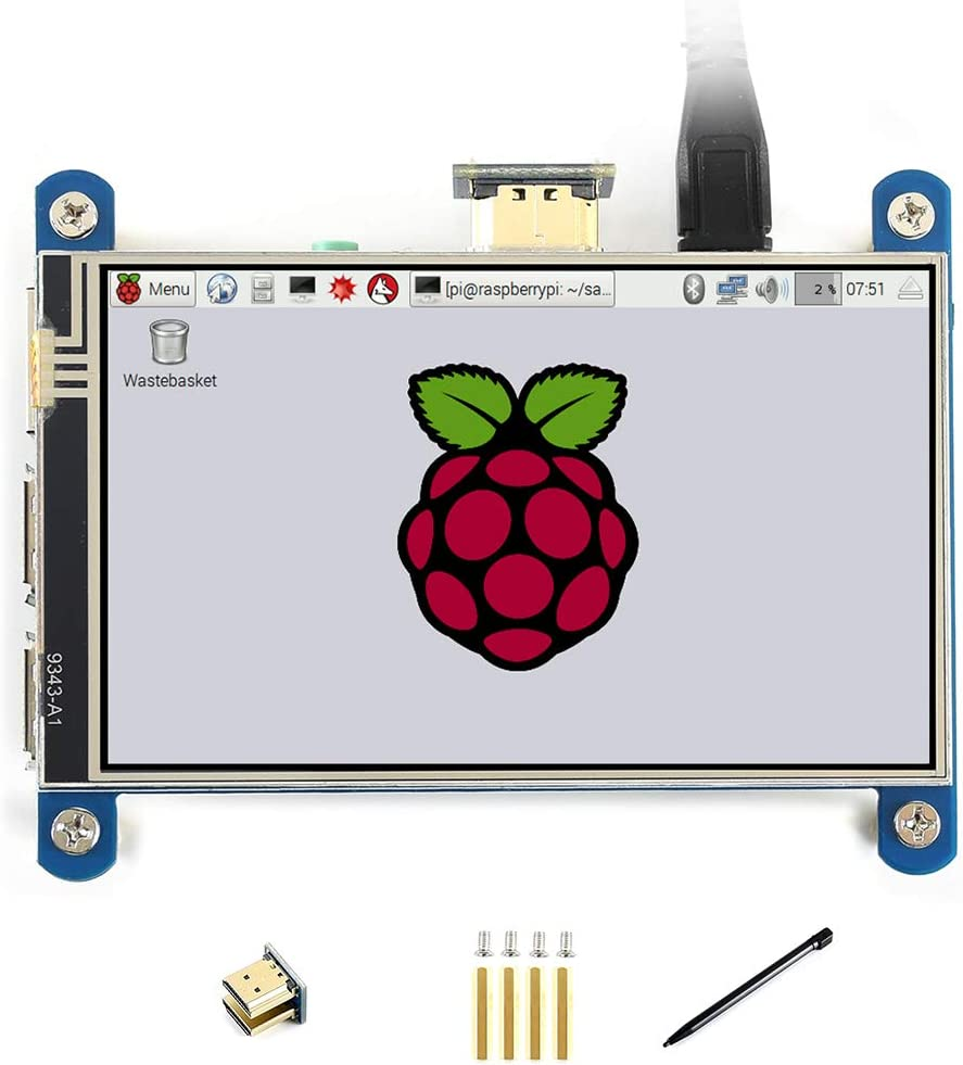 Waveshare 4inch Resistive Touch Screen IPS LCD (Type H) for Raspberry Pi 4 480x800 Hardware Resolution with HDMI Interface Resistive Touch Control