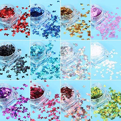 FLOFIA 12 Farbe Nägel Pailletten Schmetterling Nail Art Sequins Nagel Glitter Holographisch DIY Nageldesign Abziehbilder für Fingernagel Toenail Nagel Dekoration Maniküre Gesicht Körper