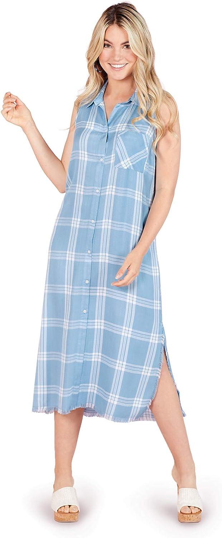 Mud Pie Blue Plaid Lou Button-Down Maxi Dress