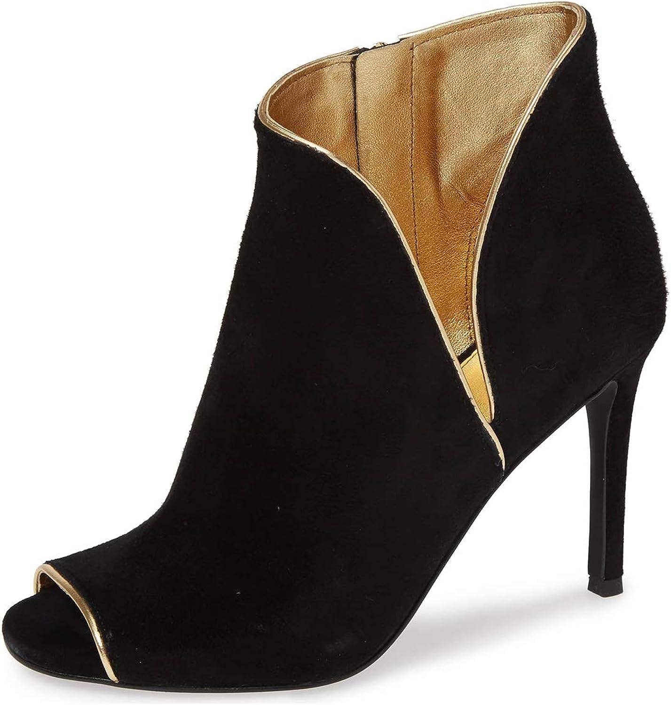 YDN Women Peep Toe High Heels Akle Stiletto Boots Faux Suede Cutout Dress Winter Office shoes