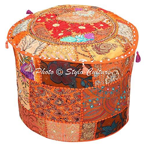 Stylo Culture Taburete de pie y Cubierta de puf Otomana Puf Seat Naranja Bordado Indio Patchwork de algodón Cubierta Puf otomano Redonda Tradicional (18x18x13 Pulgada) 45cm