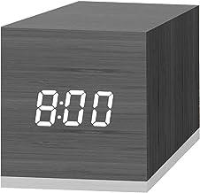 ساعت زنگ دار دیجیتالی ، با نمایشگر نمایش ال ای دی چوبی الکترونیکی ، 2 زنگ هشدار دوگانه ، 2.5 اینچ مکعب کوچک مینی چوبی ساخته شده از ساعتهای برقی برای اتاق خواب ، تخت خواب ، مشکی