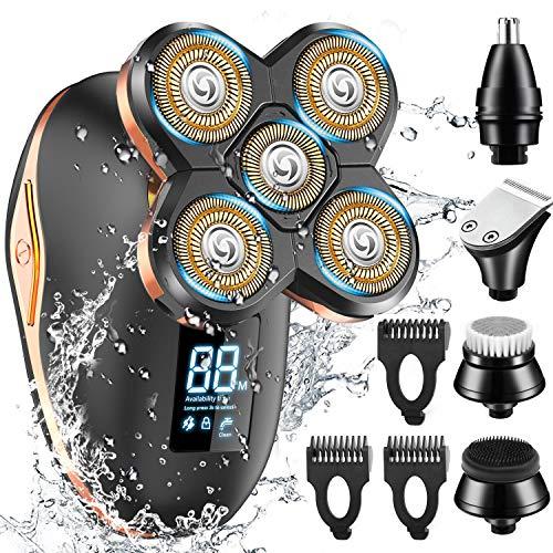 GOOLEEN Afeitadora eléctrica para hombre rotativa,4D Afeitadora de Cabeza Calva 5 En...