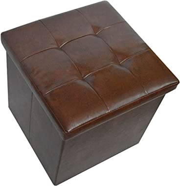 WTTWTTW Leather Home Life Supplies Storage Bench Scene Bench Small Square Shoe Stool Foldable can be Used to sit(玫红色,32 * 32