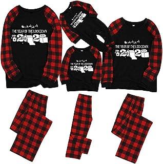 AICSOLL 2020 Quarantine Christmas Family Matching Pajamas, Girls Boys Men Women Holiday Pajamas Red Plaid Sleepwear