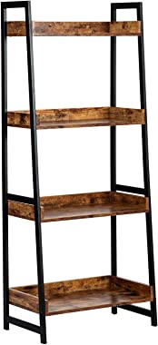 AMOAK 4-Tier Bookshelf, Industrial Ladder Shelf, Bookshelves, Vintage Bookcase, Storage Rack Shelves for Living Room, Bathroo