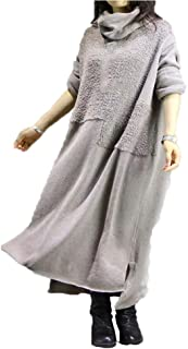 Vintage Cotton Long Sweater Dress,Women Casual Irregular Maxi Dresses, Autumn Solid Loose Long Maxi Dress, Average Size,Beige