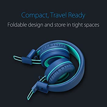Kids Headphones - noot products K11 Foldable Stereo Tangle-Free 3.5mm Jack Wired Cord On-Ear Headset for Children/Tee...