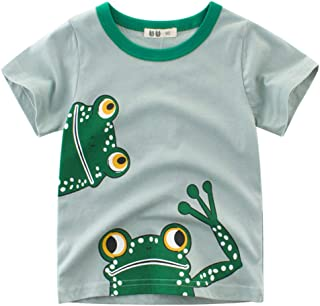 Anself Boy Short Sleeve Cotton T-Shirt Round Neck Tops Summer Kids Clothes Cartoon Frog Printing Shirt Tee 120
