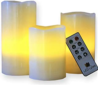 LED Lytes Flameless Candles, Set of 3 Ivory Wax Pillar Candle with Flickering Amber Flame and Timer Remote Control Battery Operated Candles for Christmas Holiday Decorations and Gifts