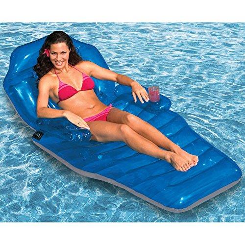 Poolmaster Adjustable Chaise Floating Lounge, Blue/Blue, One Size