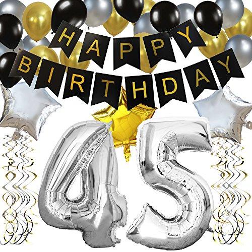 """KUNGYO Clásico Decoración de Cumpleaños -""""Happy Birthday"""" Bandera Negro;Número 45 Globo;Balloon de Látex&Estrella, Colgando Remolinos Partido para el Cumpleaños de 45 Años"""