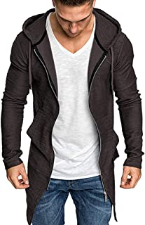 IZHH Mens Zip Hoodie Zipper Sweatshirt Solid Slim Hooded Jacket Coat Winter Coat